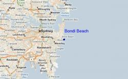 Carte de situation de Bondi Beach près de Sydney